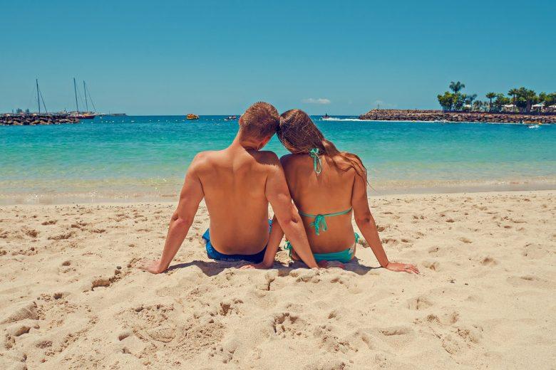 spiagge, Canarie, coppia
