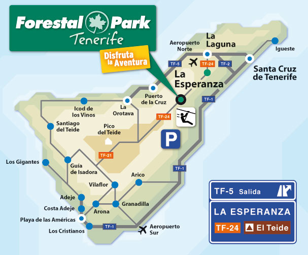 Mappa per arrivare al parco avventura Forestal Park di Tenerife