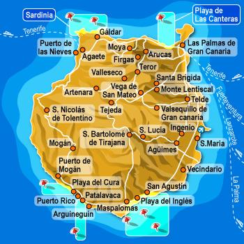 Isole Gran Canarie Cartina.Gran Canaria Tenerife Canarie
